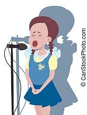 女の子, 歌うこと, マイクロフォン