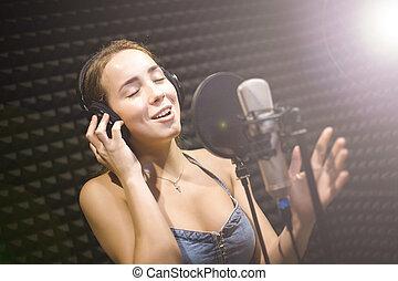 女の子, 歌手, ∥で∥, マイクロフォン, 中に, 専門家, スタジオ