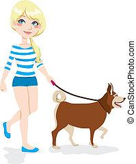 女の子, 歩く犬