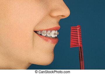 女の子, 歯, 支柱, 彼女, 顔