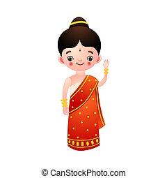 女の子, 民族, 赤, ベクトル, 平ら, イラスト, style., saree., 漫画, 伝統的である, ...