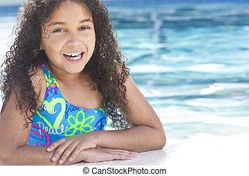 女の子, 水泳, アメリカ人, 子供, アフリカ, プール, interracial