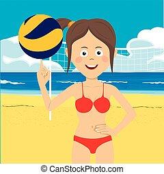 女の子, 浜, ティーネージャー, バレーボール