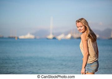 女の子, 浜, 幸せ