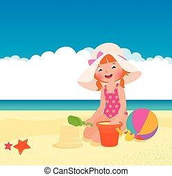 女の子, 浜, 遊び
