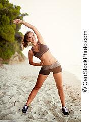 女の子, 浜, 運動