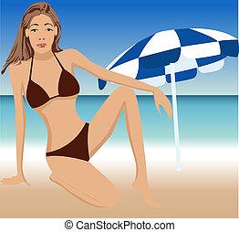 女の子, 浜, 魅力的