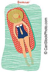 女の子, 浜, sunbathing