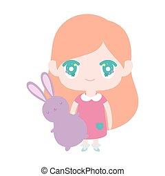 女の子, 漫画, わずかしか, 保有物, かわいい, 子供, anime, うさぎ