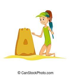 女の子, 漫画, castle., 浜, スタイル, vacation., 建造しなさい, 砂, activities., 夏