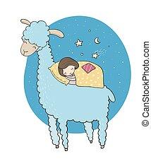 女の子, 漫画, lama., 睡眠