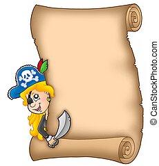 女の子, 潜む, 海賊, 羊皮紙