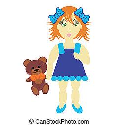 女の子, 熊, テディ
