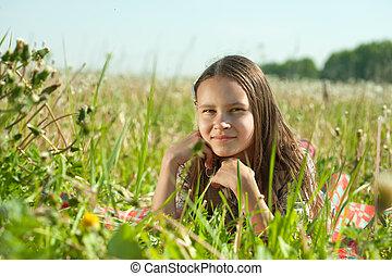 女の子, 牧草地, あること, ティーネージャー