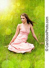 女の子, 牧草地, 若い