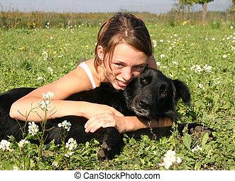 女の子, 犬, 幸せ