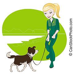 女の子, 犬, 彼女