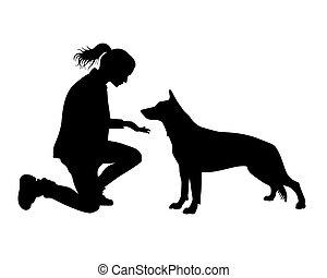 女の子, 犬, .eps