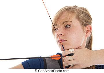 女の子, 狙いを定める, クローズアップ, 矢, 弓