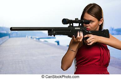 女の子, 狙いを定める, 銃