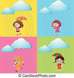 女の子, 現場, 雨