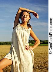 女の子, 田園, 衣類, 地位, フィールド