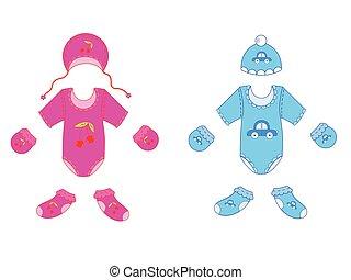 女の子, 男の赤ん坊, セット, ベクトル, 衣服