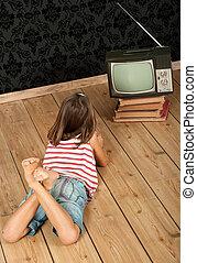 女の子, 監視, 古い, tv