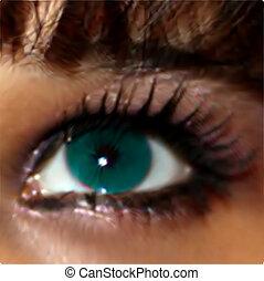 。, 女の子, 目, ベクトル, 緑, 終わり