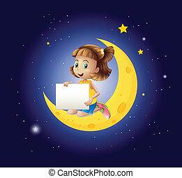 女の子, 看板, 空, の上, 月