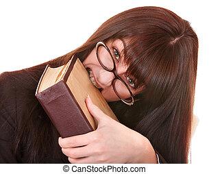 女の子, 眼鏡, book.