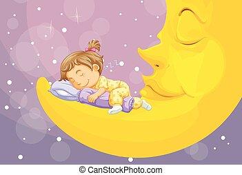 女の子, 睡眠, 上に, 月