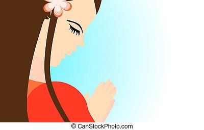女の子, 祈ること, へ, 神