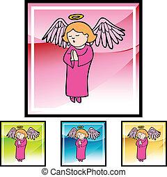 女の子, 祈ること, 天使