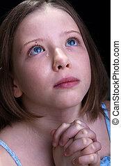 女の子, 祈ること, 若い, 叫ぶこと