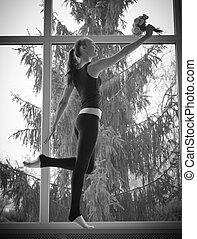 女の子, 窓, ダンス