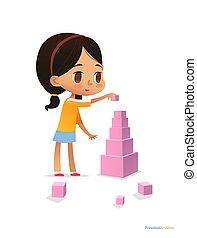 女の子, 立つ, 暗い, ベクトル, 明るい, ピラミッド, プレーする, イラスト, 毛, 幼稚園, 高い, 有色人種, 催し物, 旗, website., blocks., 使うこと, concept., 子供, ポスター, cubes., ピンク, 建造する