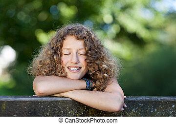 女の子, 笑い, 支柱