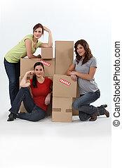 女の子, 箱, 引っ越し