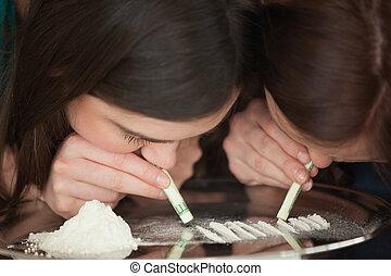 女の子, 粉, 2, 鼻を鳴らす, 白, 不法入国者, 若い
