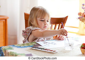 女の子, 絵, 映像, ∥で∥, 水彩画
