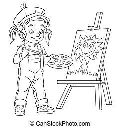 女の子, 絵, 芸術家, 図画