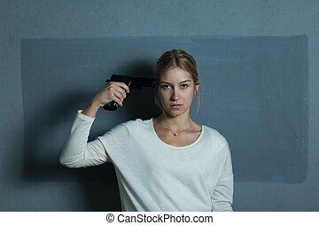 女の子, 絶望的, 保有物, 火器