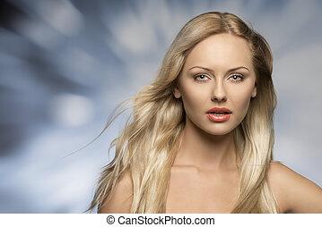 女の子, 絹のようである, 毛, 美しい