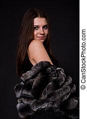 女の子, 美しい, 毛皮コート