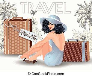女の子, 美しさ, の上, 旅行, 夏, ピン
