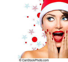 女の子, 美しさ, モデル, woman., santa, クリスマス帽子