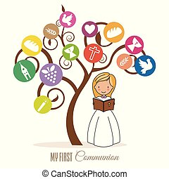 女の子, 聖書, 木, 読書, 下に