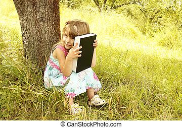 女の子, 聖書, 若い, 読む