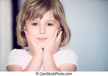 女の子, 肖像画, かわいい